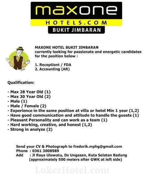 Job Vacancy MaxOne Hotel Bukit Jimbaran