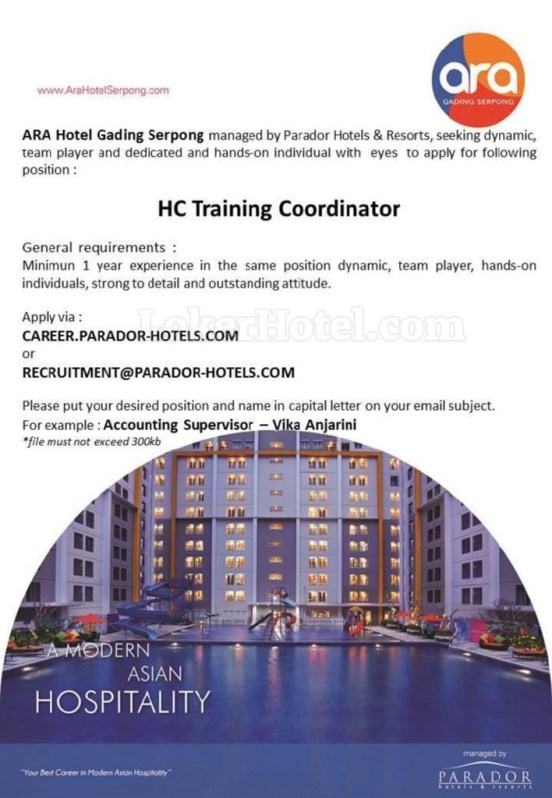 Job Vacancy Ara Hotel Gading Serpong