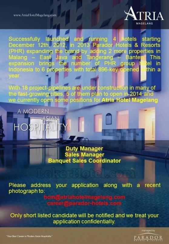 Job Vacancy Lowongan Atria Hotel Magelang