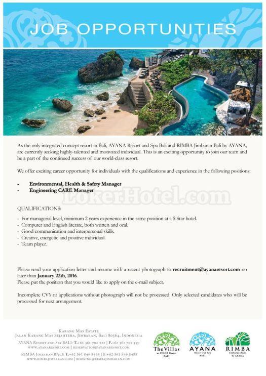 Job Vacancy at AYANA Resort and Spa Bali