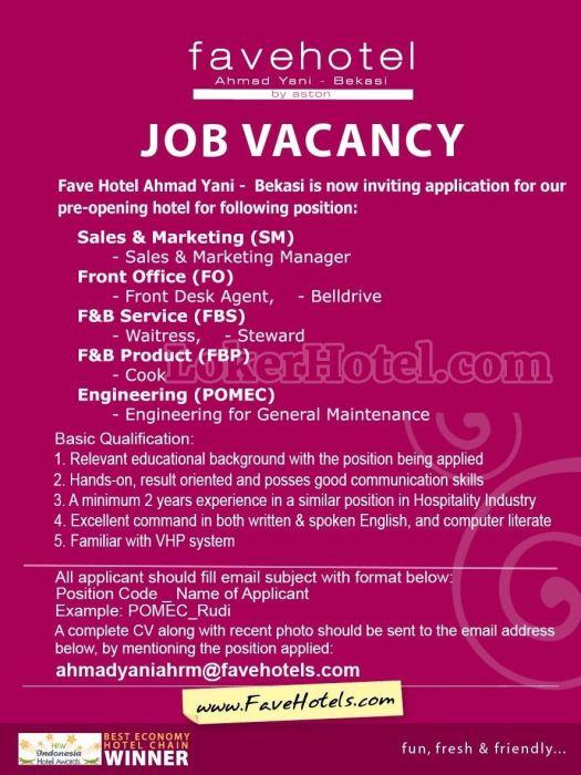 Job Vacancy favehotel Ahmad Yani Bekasi