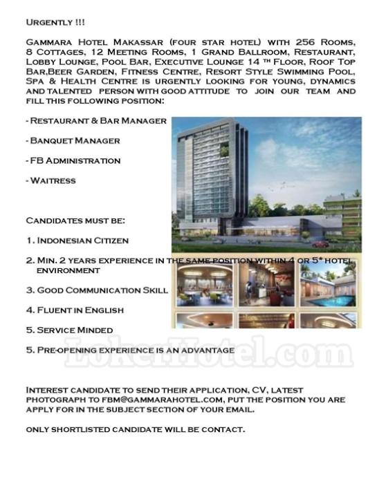 Job Vacancy Gammara Hotel Makassar