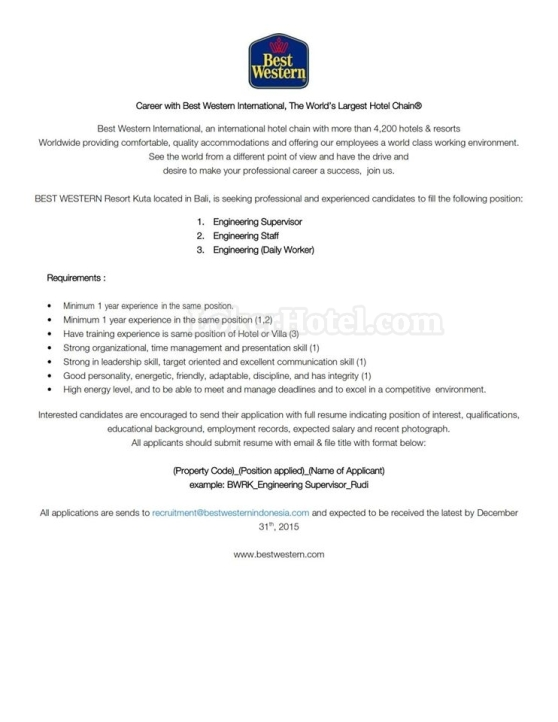 Job Vacancy Best Western Resort Kuta Bali
