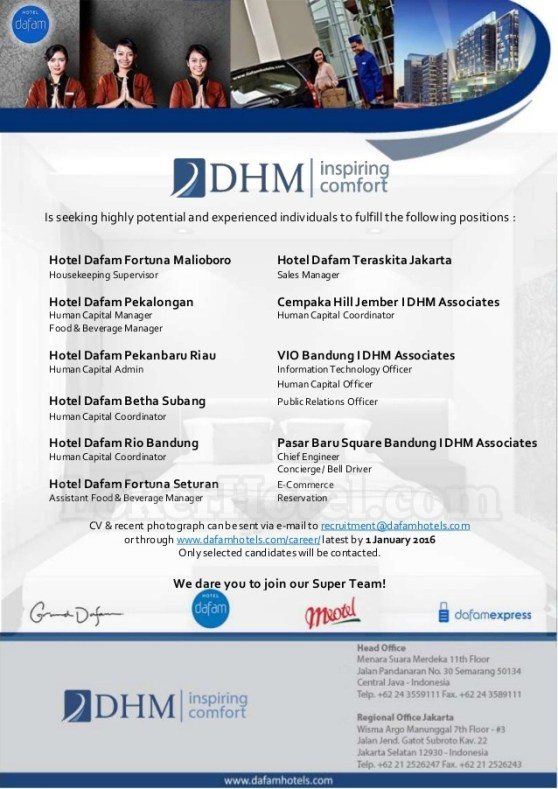 Job Vacancy Dafam Hotel Management