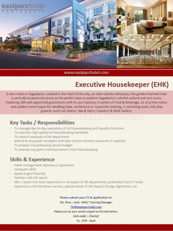 Job Vacancy Eastparc Hotel Yogyakarta