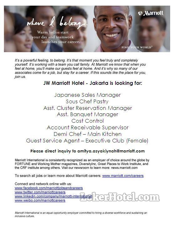 Job Vacancy Jw Marriott Hotel Jakarta Closed Loker Lowongan Kerja Hotel