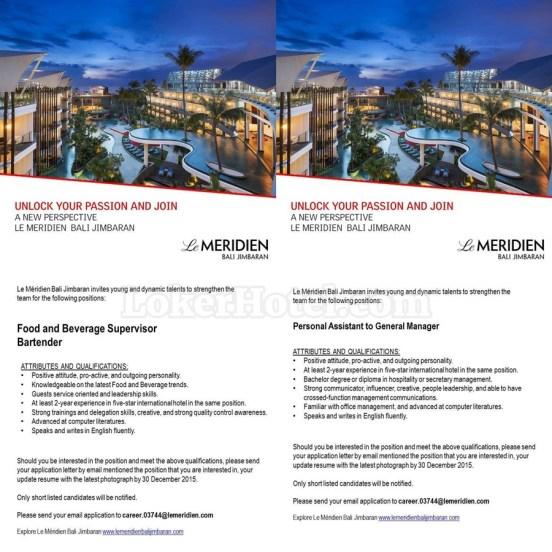 Job Vacancy Le Meridien Bali Jimbaran