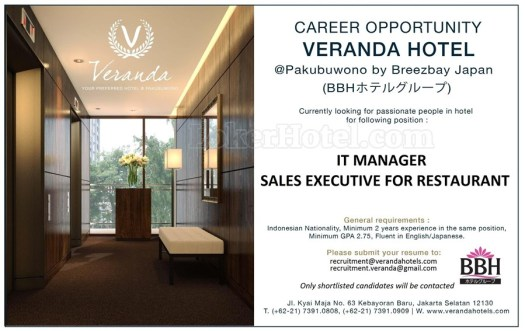 Job Vacancy Veranda Hotel Jakarta