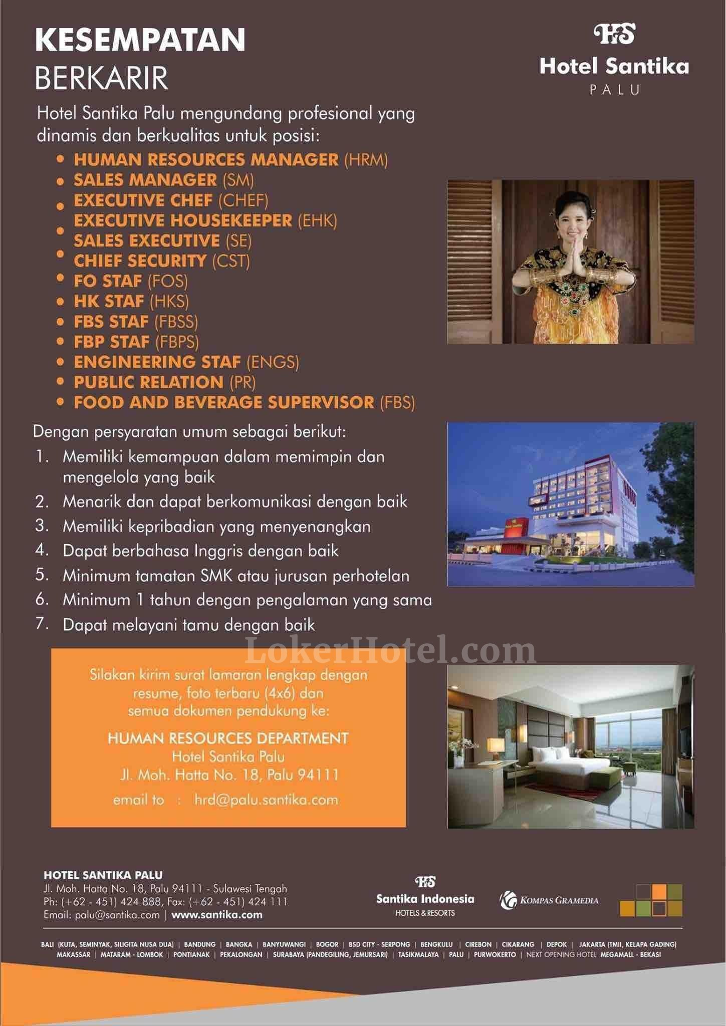 Lowongan Kerja Hotel Santika Palu Loker Lowongan Kerja Hotel