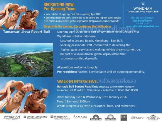 Job Vacancy Pre Opening Team Wyndham Taman Sari Jivva Resort Bali