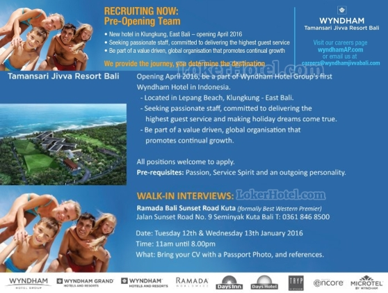 Job Vacancy Pre Opening Team Wyndham Taman Sari Jivva Resort Bali