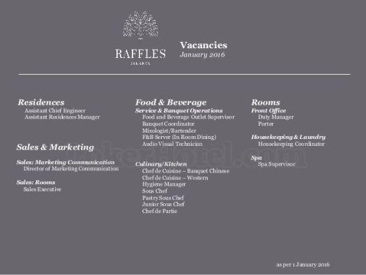Job Vacancy Raffles Hotel Jakarta