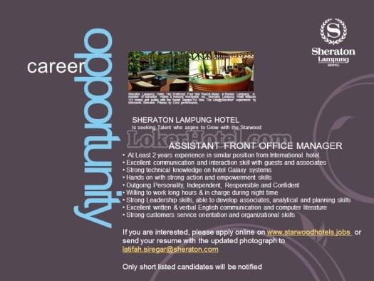 Job Vacancy Sheraton Lampung Hotel