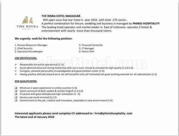Job Vacancy The Rinra Hotel Makassar