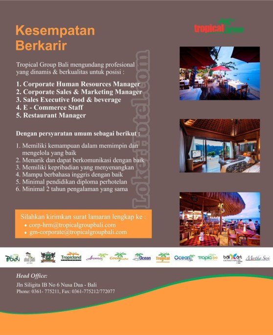 Lowongan Kerja Vacancy Tropical Group Bali