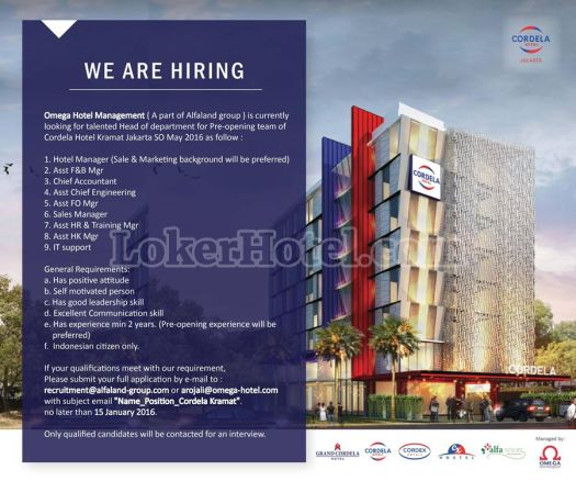 Job Vacancy Cordela Hotel Jakarta
