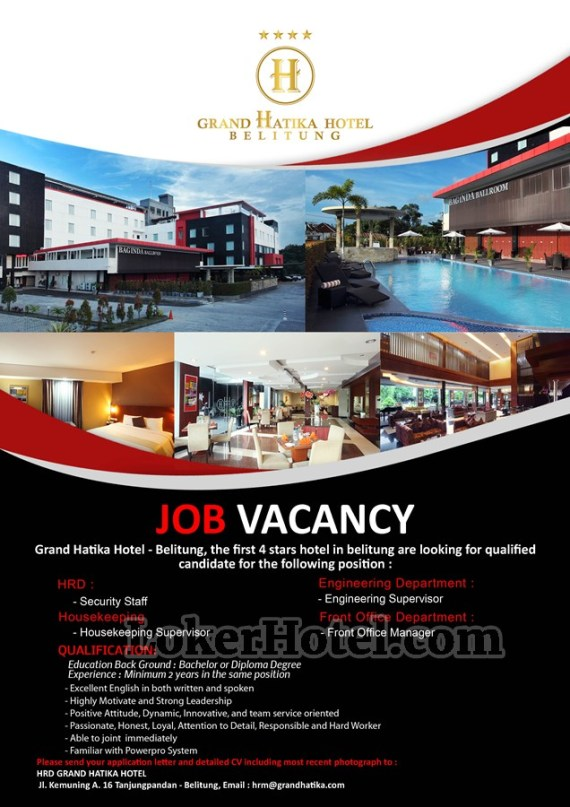 Job Vacancy Grand Hatika Hotel Belitung