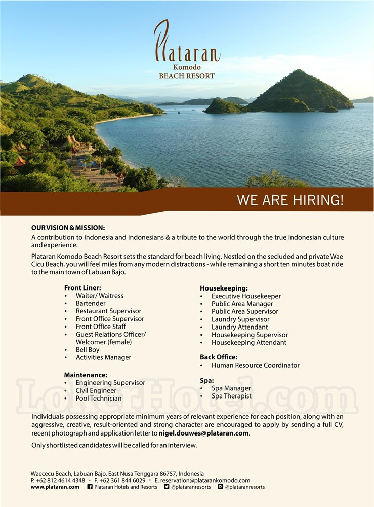 Job Vacancy Plataran Komodo Beach Resort Labuan Bajo