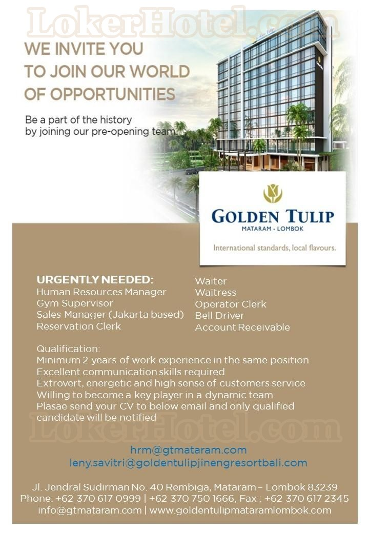 Job Vacancy Golden Tulip Mataram Lombok Closed