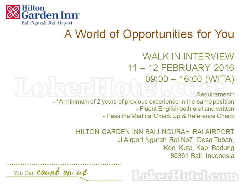 Walk In Interview Hilton Garden Inn Bali Ngurah Rai Airport Loker Lowongan Kerja Hotel