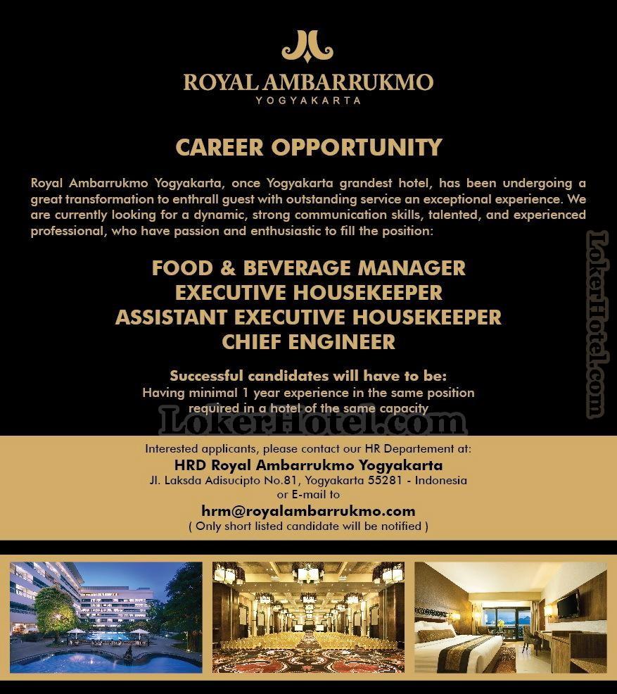 Hotel Tentrem Yogyakarta Closed: Job Vacancies Royal Ambarrukmo Yogyakarta [CLOSED