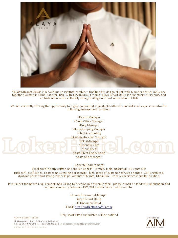 Job Vacancies Alaya Resort Ubud Bali Lowongan Kerja Hotel