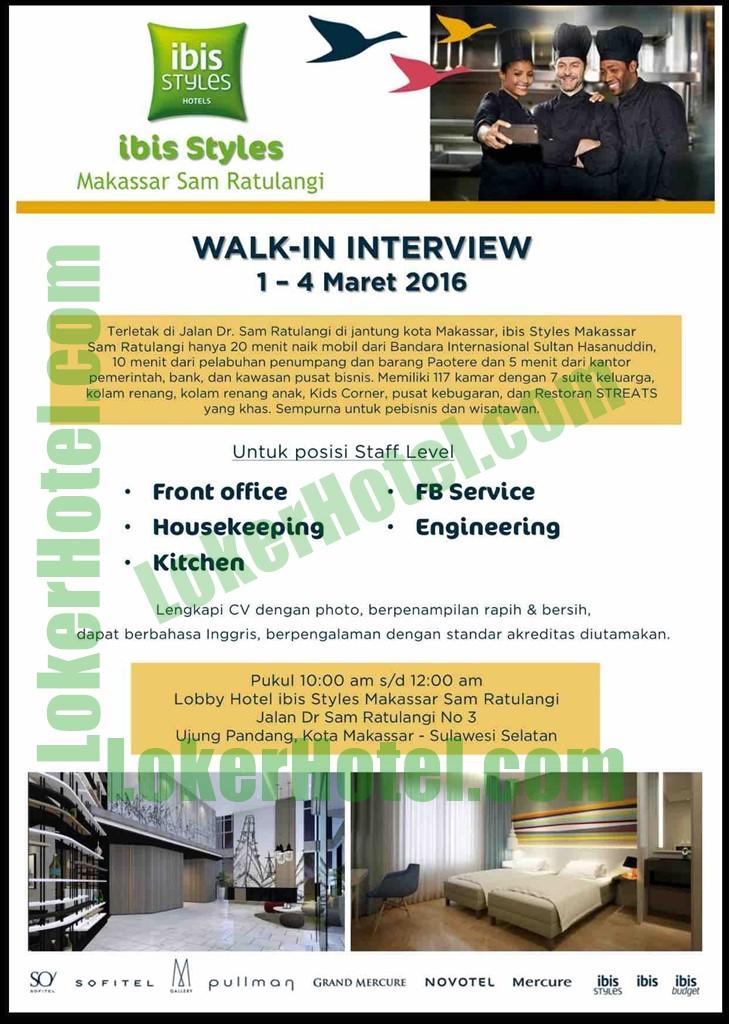 Walk In Interview Ibis Styles Makassar Sam Ratulangi Loker Lowongan Kerja Hotel