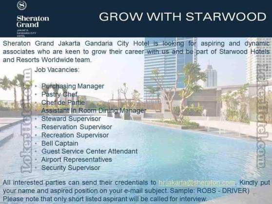 Sheraton Grand Jakarta Gandaria City Hotel Loker Lowongan Kerja Hotel