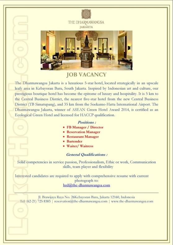 Job Vacancy The Dharmawangsa Jakarta Loker Lowongan Kerja Hotel