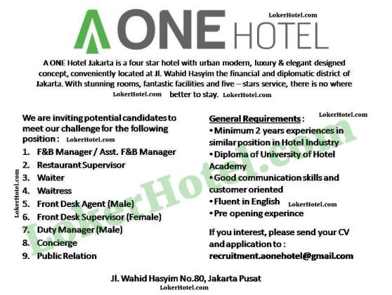 A One Hotel Jakarta Loker Lowongan Kerja Hotel
