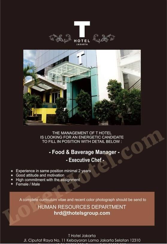 Job Vacancy T Hotel Jakarta
