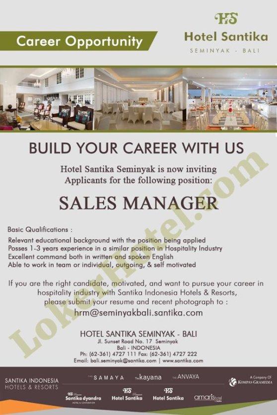 Vacancy Sales Manager At Hotel Santika Seminyak Lokerhotel Com