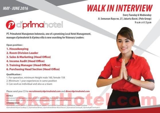 Walk In Interview Primahotel Manajemen Indonesia Lokerhotel Com