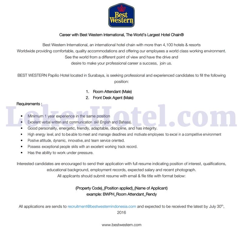 Best Western Papilio Hotel Surabaya Closed Loker Lowongan Kerja Hotel