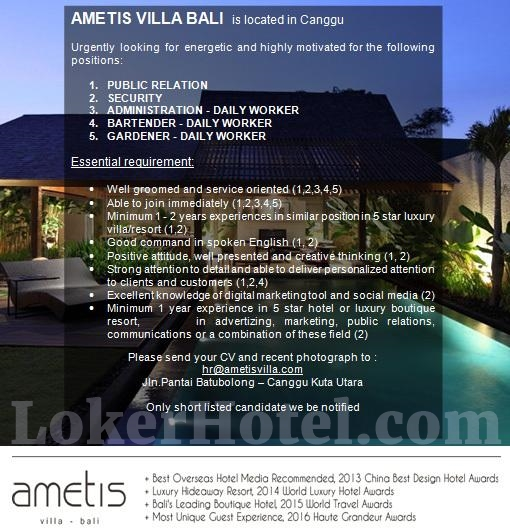 Ametis Villa Bali Loker Lowongan Kerja Hotel