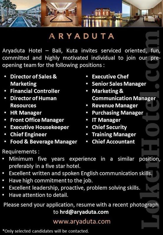 Aryaduta Hotel Bali Pre Opening Team Lokerhotel Com