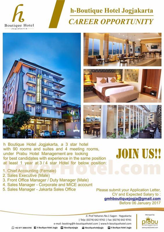 H boutique hotel jogjakarta lowongan kerja hotel terbaru for Boutique hotel 2016