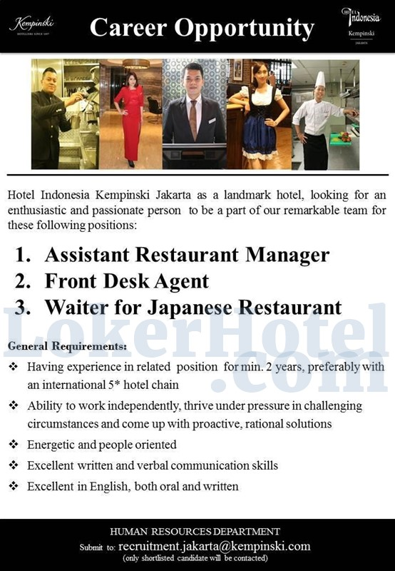 Hotel Indonesia Kempinski Jakarta Loker Lowongan Kerja Hotel