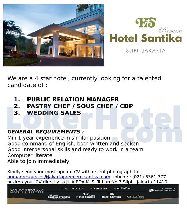 Hotel Santika Premiere Slipi Jakarta Loker Lowongan Kerja Hotel