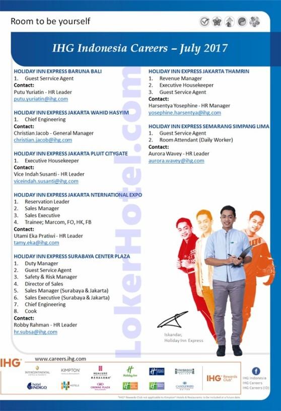 Holiday Inn Express Baruna Bali, Jakarta Wahid Hasyim, JI Expo, Jakarta Puit CityGate, Surabaya Center Plaza, Jakarta Thamrin & Semarang Simpang Lima