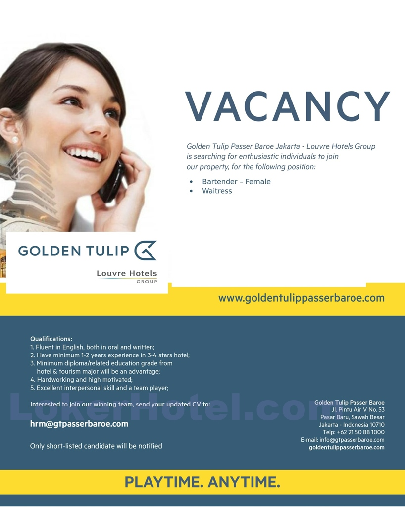 Golden Tulip Passer Baroe Jakarta Loker Lowongan Kerja Hotel