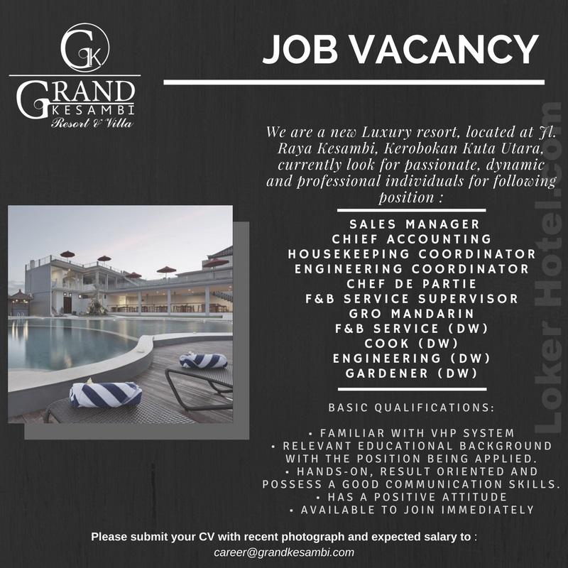 Grand Kesambi Resort Villa Bali Loker Lowongan Kerja Hotel