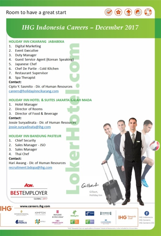 Holiday Inn Cikarang Jababeka, Bandung Pasteur & Jakarta Gajahmada