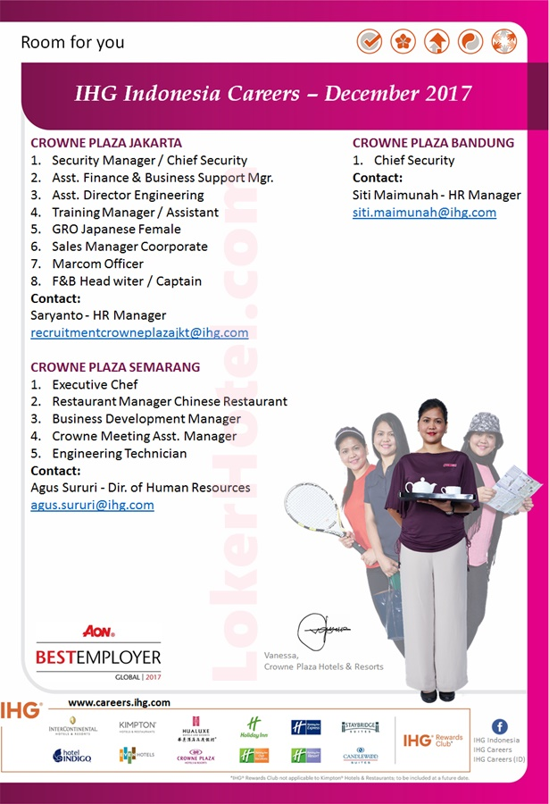 IHG Indonesia Careers December 2017 - Lowongan Kerja Hotel