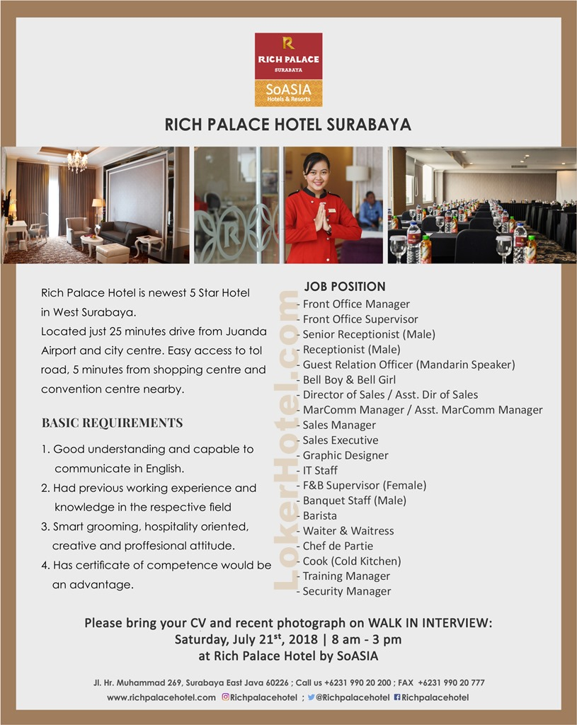 Rich Palace Hotel Surabaya Walk In Interview Loker Lowongan Kerja Hotel